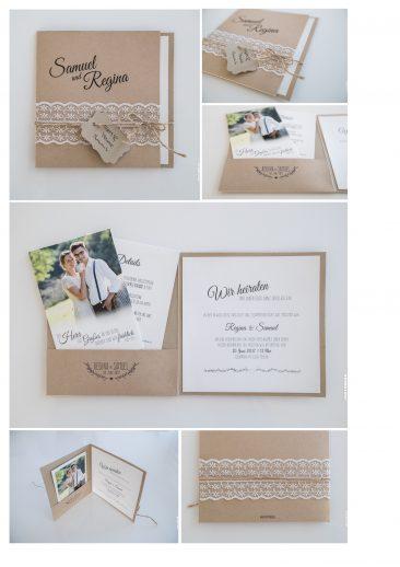 """Einladungskarte """"Pocketfold-Vintage"""""""